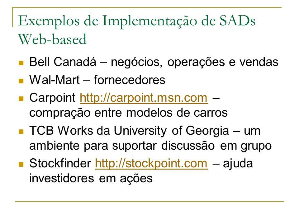 Exemplos de Implementação de SADs Web-based