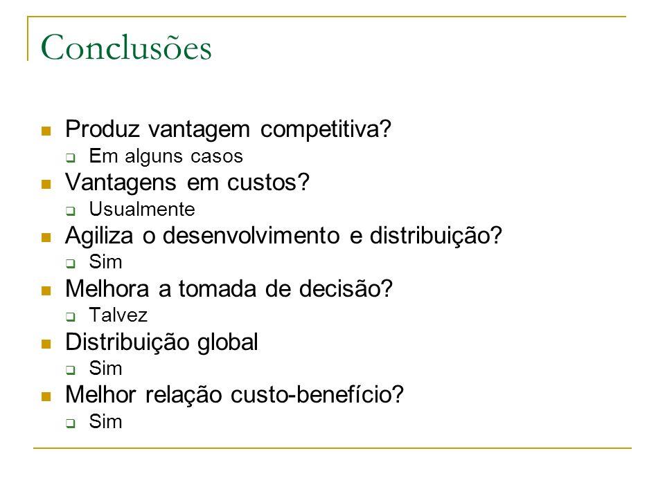 Conclusões Produz vantagem competitiva Vantagens em custos