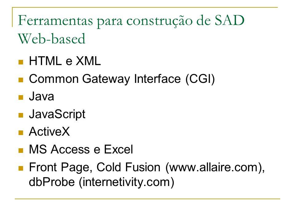 Ferramentas para construção de SAD Web-based