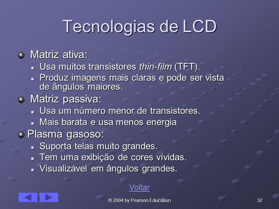 Tecnologias de LCD Matriz ativa: Matriz passiva: Plasma gasoso: