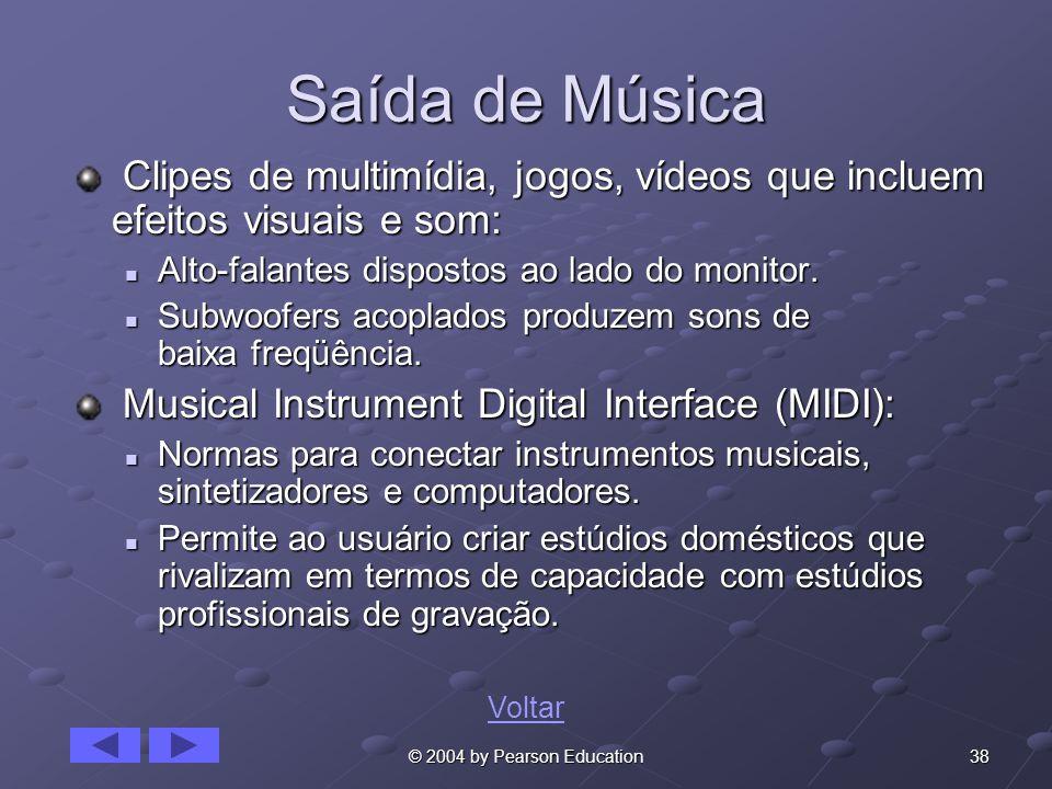 Saída de MúsicaClipes de multimídia, jogos, vídeos que incluem efeitos visuais e som: Alto-falantes dispostos ao lado do monitor.