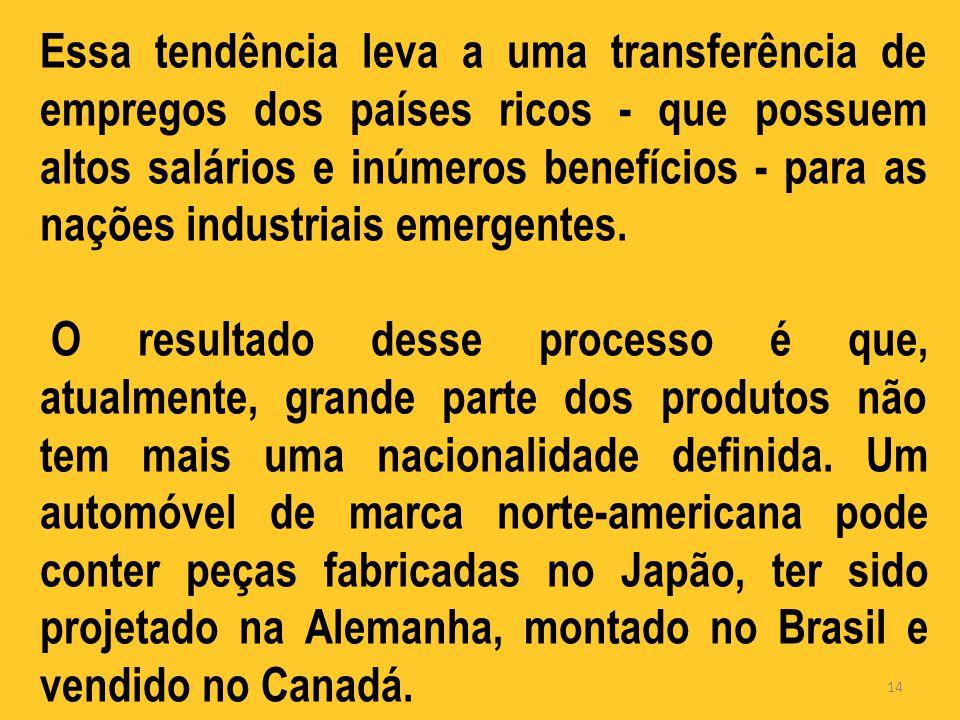 Essa tendência leva a uma transferência de empregos dos países ricos - que possuem altos salários e inúmeros benefícios - para as nações industriais emergentes.