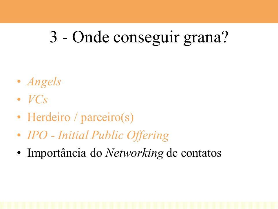 3 - Onde conseguir grana Angels VCs Herdeiro / parceiro(s)