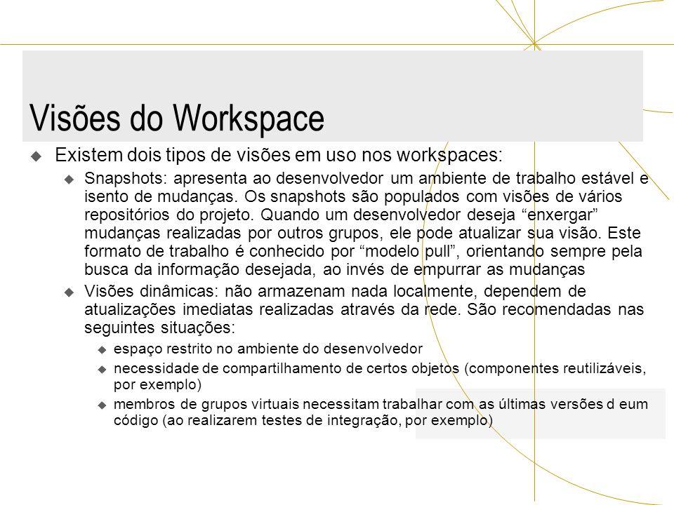 Visões do Workspace Existem dois tipos de visões em uso nos workspaces: