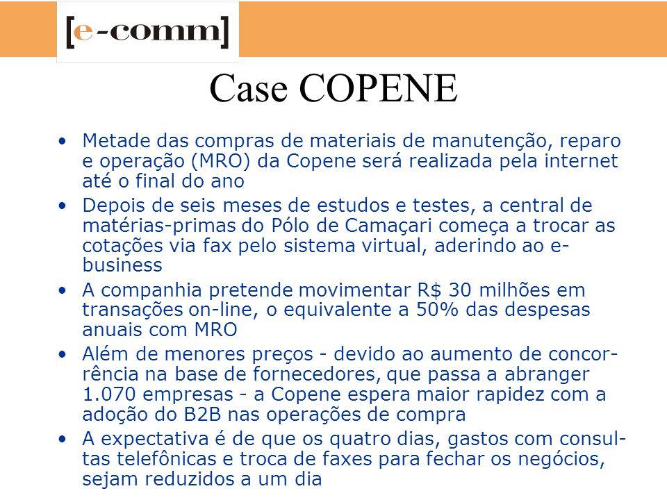Case COPENE Metade das compras de materiais de manutenção, reparo e operação (MRO) da Copene será realizada pela internet até o final do ano.