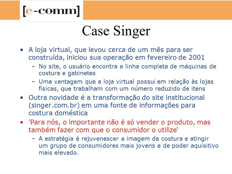 Case Singer A loja virtual, que levou cerca de um mês para ser construída, iniciou sua operação em fevereiro de 2001.