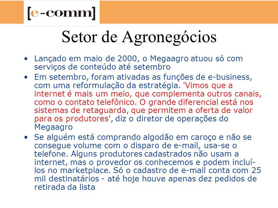 Setor de Agronegócios Lançado em maio de 2000, o Megaagro atuou só com serviços de conteúdo até setembro.