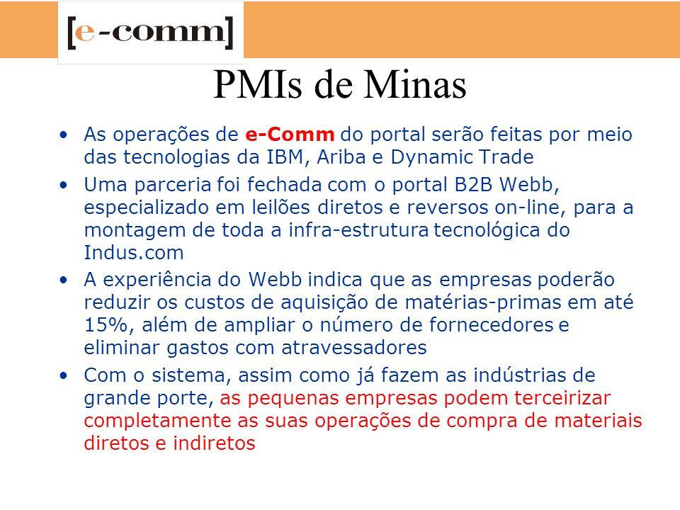 PMIs de Minas As operações de e-Comm do portal serão feitas por meio das tecnologias da IBM, Ariba e Dynamic Trade.