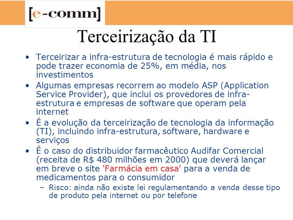 Terceirização da TI Terceirizar a infra-estrutura de tecnologia é mais rápido e pode trazer economia de 25%, em média, nos investimentos.