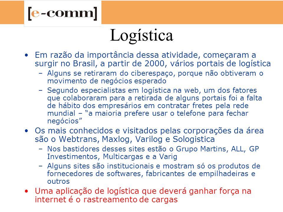 Logística Em razão da importância dessa atividade, começaram a surgir no Brasil, a partir de 2000, vários portais de logística.