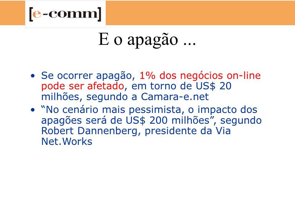 E o apagão ... Se ocorrer apagão, 1% dos negócios on-line pode ser afetado, em torno de US$ 20 milhões, segundo a Camara-e.net.