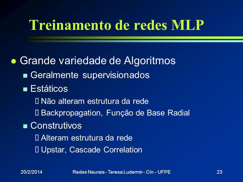 Treinamento de redes MLP