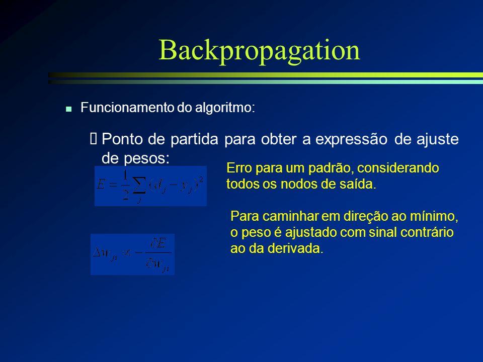Backpropagation Funcionamento do algoritmo: Ponto de partida para obter a expressão de ajuste de pesos: