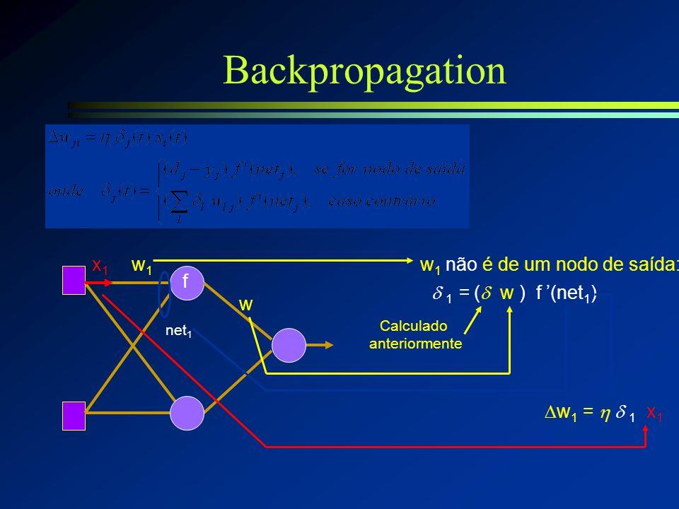 Backpropagation x1 w1 w1 não é de um nodo de saída: f