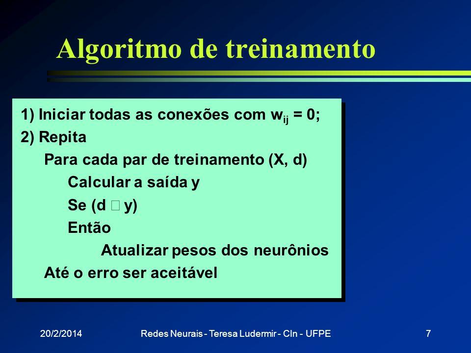 Algoritmo de treinamento