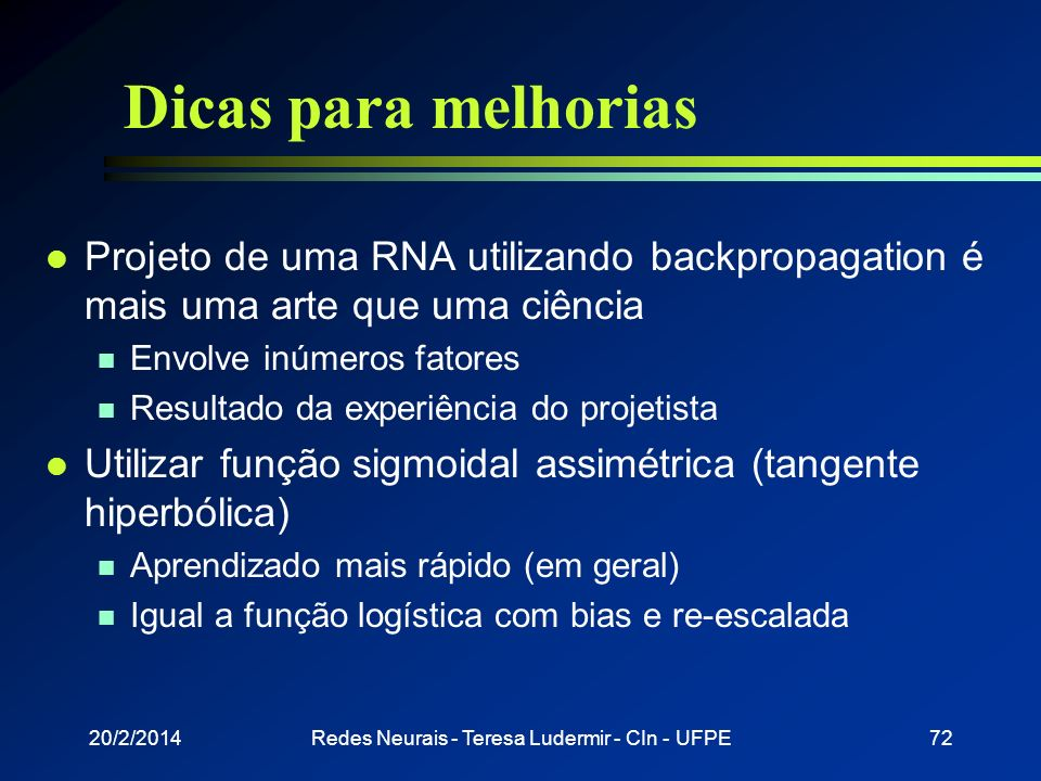 Redes Neurais - Teresa Ludermir - CIn - UFPE