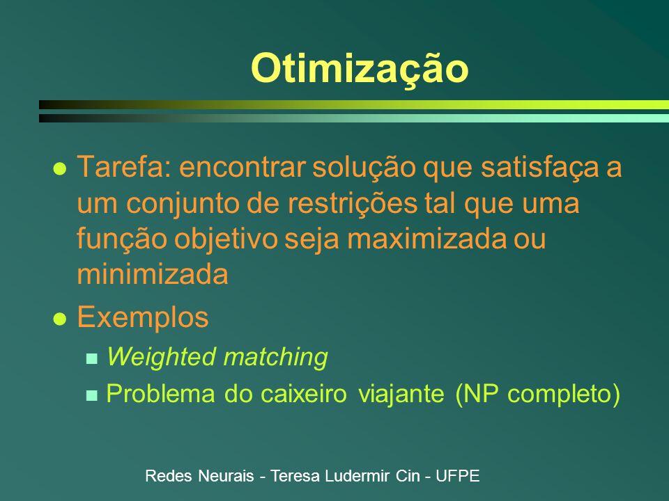 OtimizaçãoTarefa: encontrar solução que satisfaça a um conjunto de restrições tal que uma função objetivo seja maximizada ou minimizada.