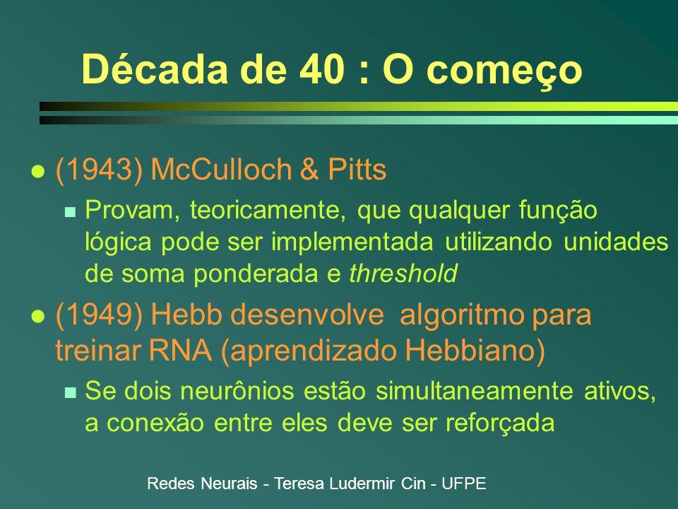 Década de 40 : O começo (1943) McCulloch & Pitts