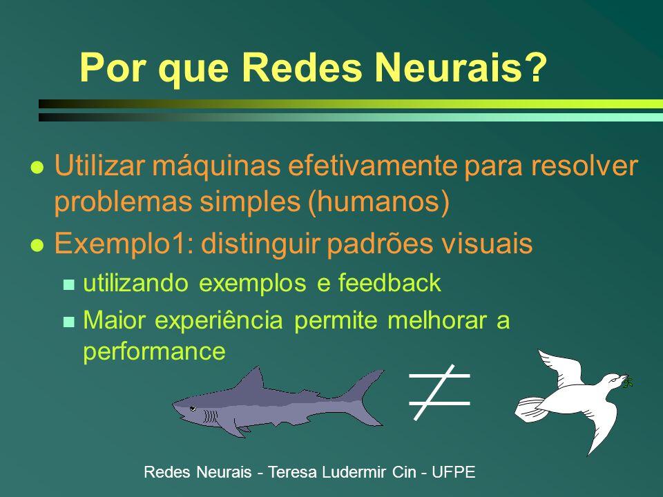 Por que Redes Neurais Utilizar máquinas efetivamente para resolver problemas simples (humanos) Exemplo1: distinguir padrões visuais.