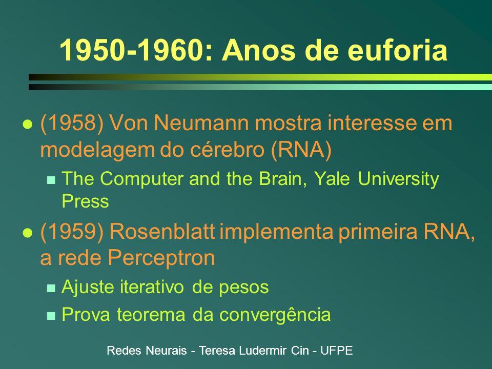 1950-1960: Anos de euforia(1958) Von Neumann mostra interesse em modelagem do cérebro (RNA) The Computer and the Brain, Yale University Press.