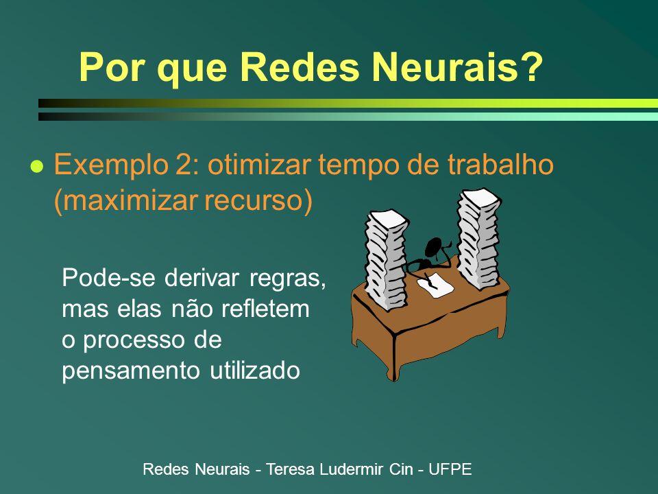 Por que Redes Neurais Exemplo 2: otimizar tempo de trabalho (maximizar recurso)