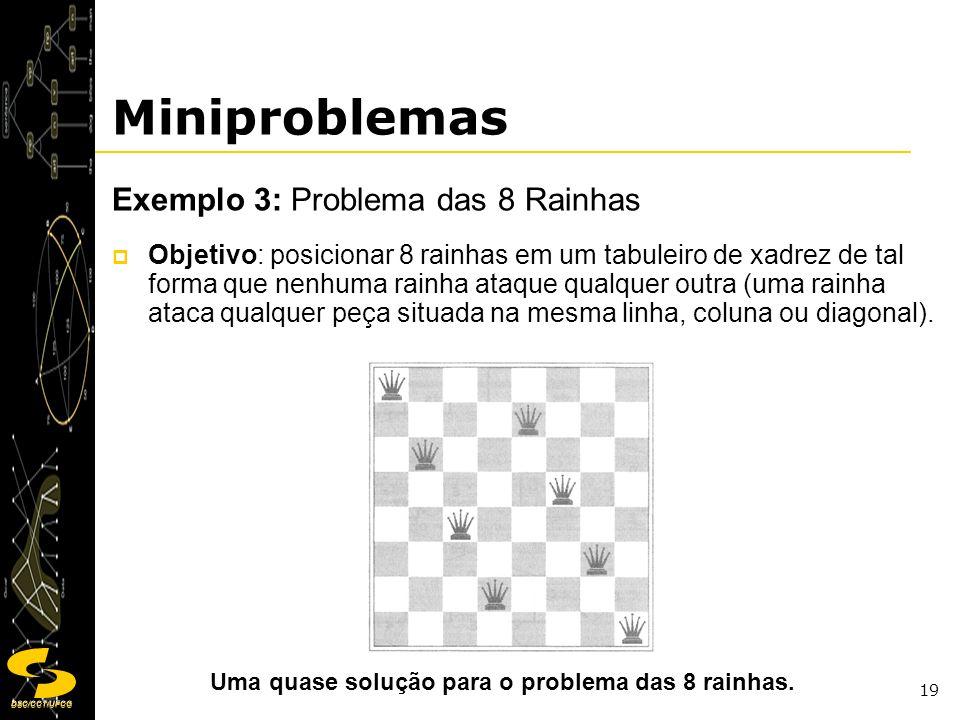 Miniproblemas Exemplo 3: Problema das 8 Rainhas
