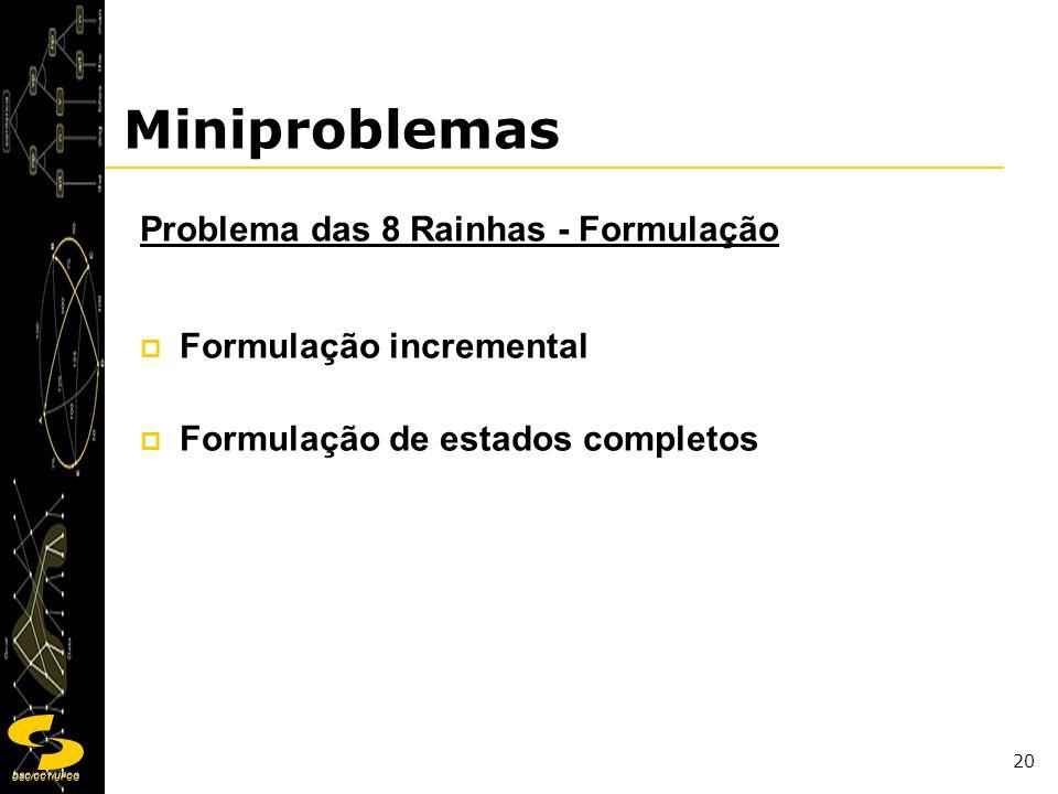 Miniproblemas Problema das 8 Rainhas - Formulação