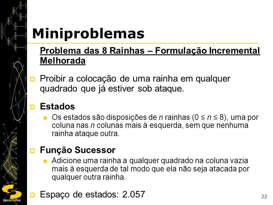 Miniproblemas Problema das 8 Rainhas – Formulação Incremental Melhorada.