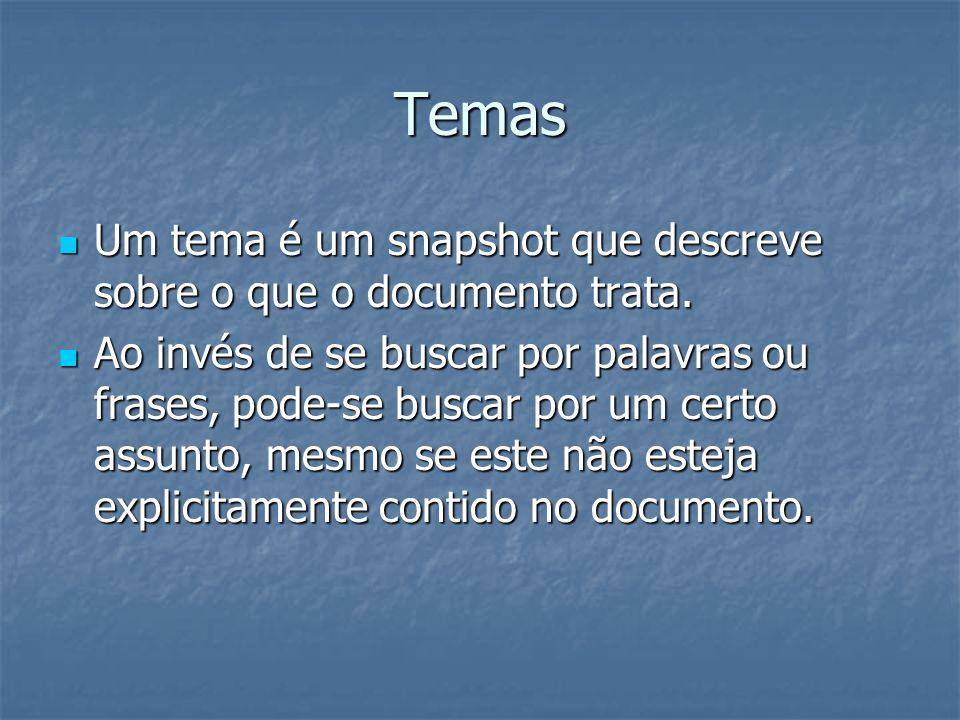 TemasUm tema é um snapshot que descreve sobre o que o documento trata.
