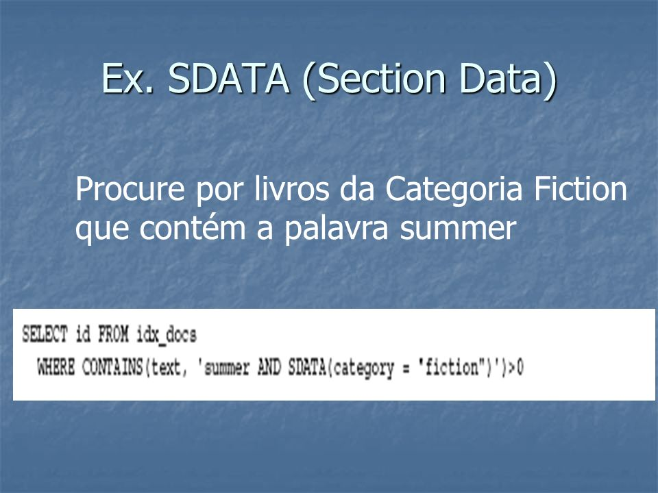 Ex. SDATA (Section Data)