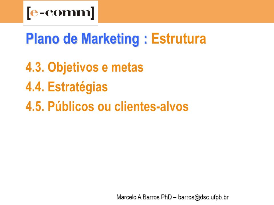Plano de Marketing : Estrutura