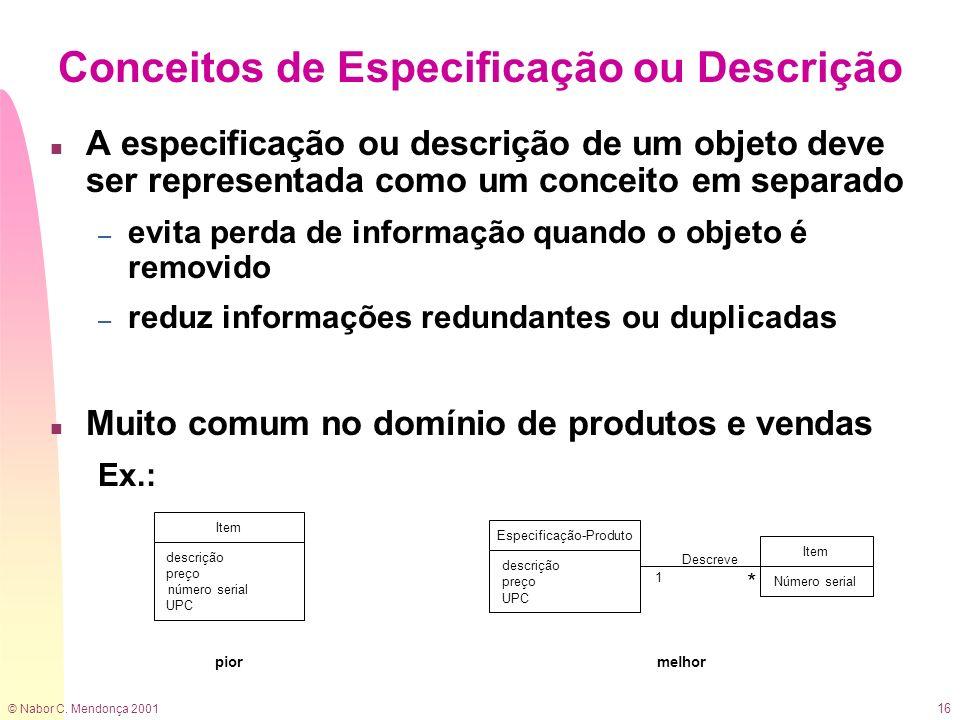 Conceitos de Especificação ou Descrição