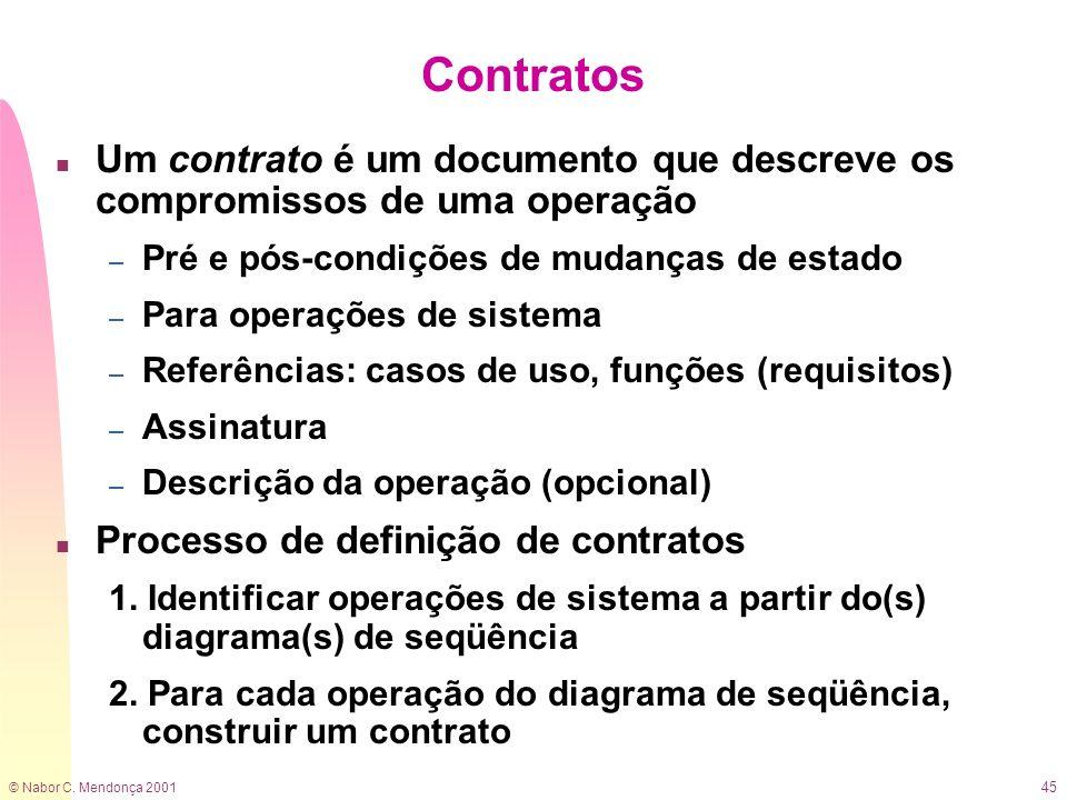 Contratos Um contrato é um documento que descreve os compromissos de uma operação. Pré e pós-condições de mudanças de estado.