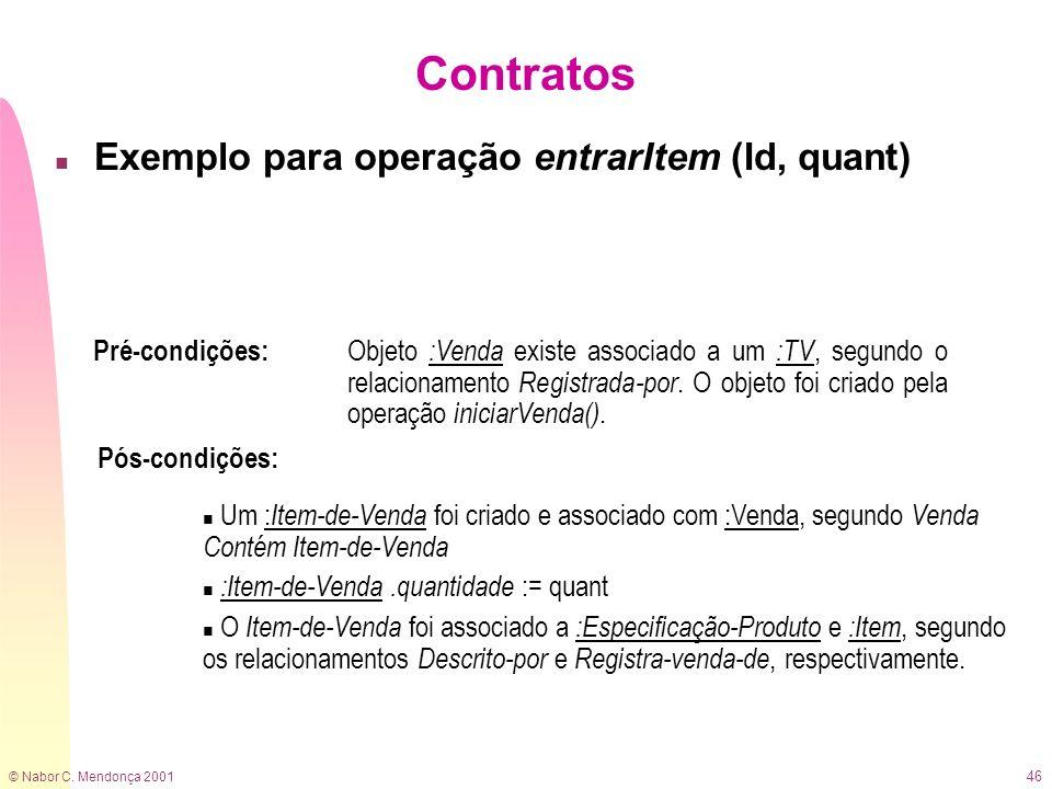 Contratos Exemplo para operação entrarItem (Id, quant) Pré-condições: