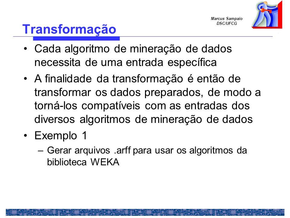 Transformação Cada algoritmo de mineração de dados necessita de uma entrada específica.