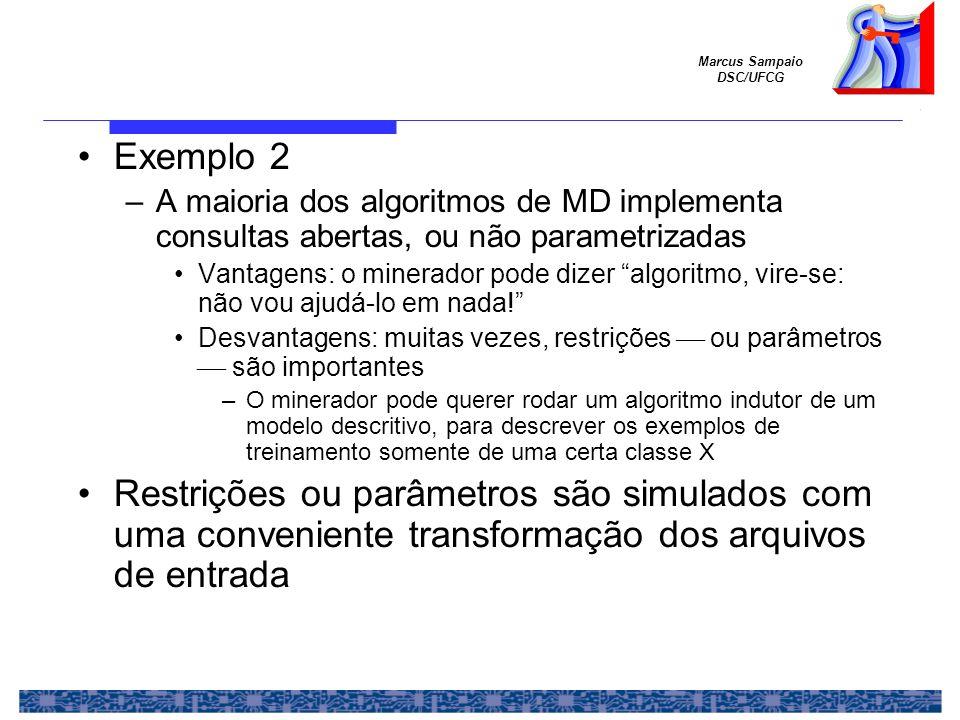 Exemplo 2 A maioria dos algoritmos de MD implementa consultas abertas, ou não parametrizadas.