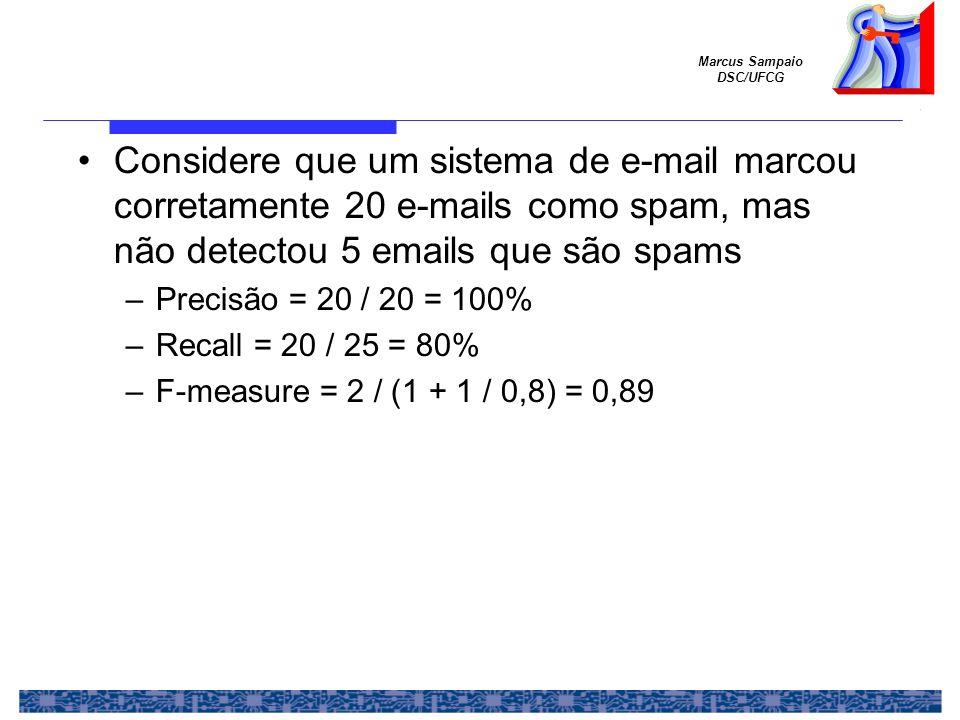 Considere que um sistema de e-mail marcou corretamente 20 e-mails como spam, mas não detectou 5 emails que são spams