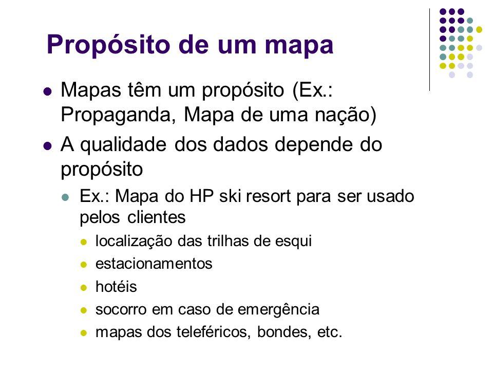 Propósito de um mapa Mapas têm um propósito (Ex.: Propaganda, Mapa de uma nação) A qualidade dos dados depende do propósito.