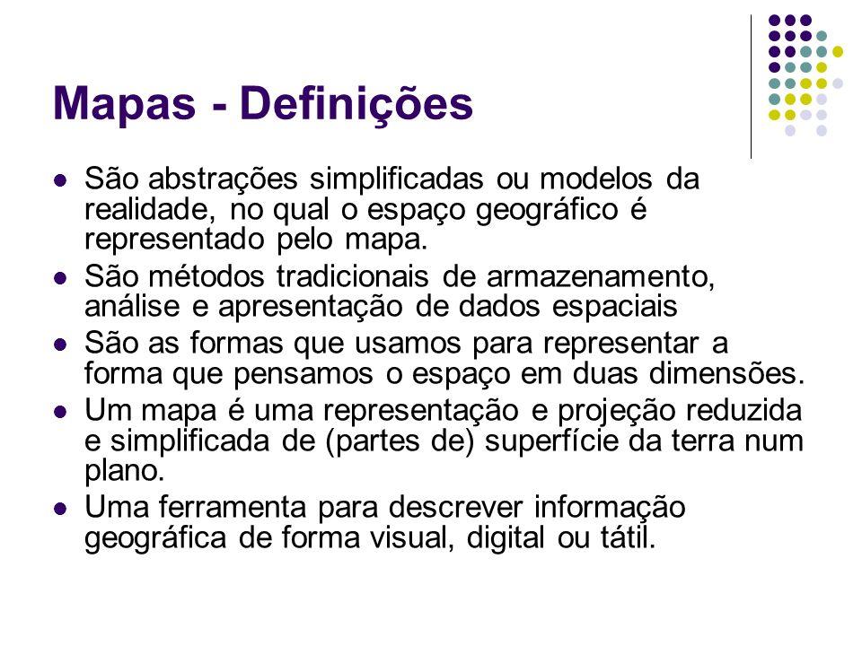 Mapas - Definições São abstrações simplificadas ou modelos da realidade, no qual o espaço geográfico é representado pelo mapa.