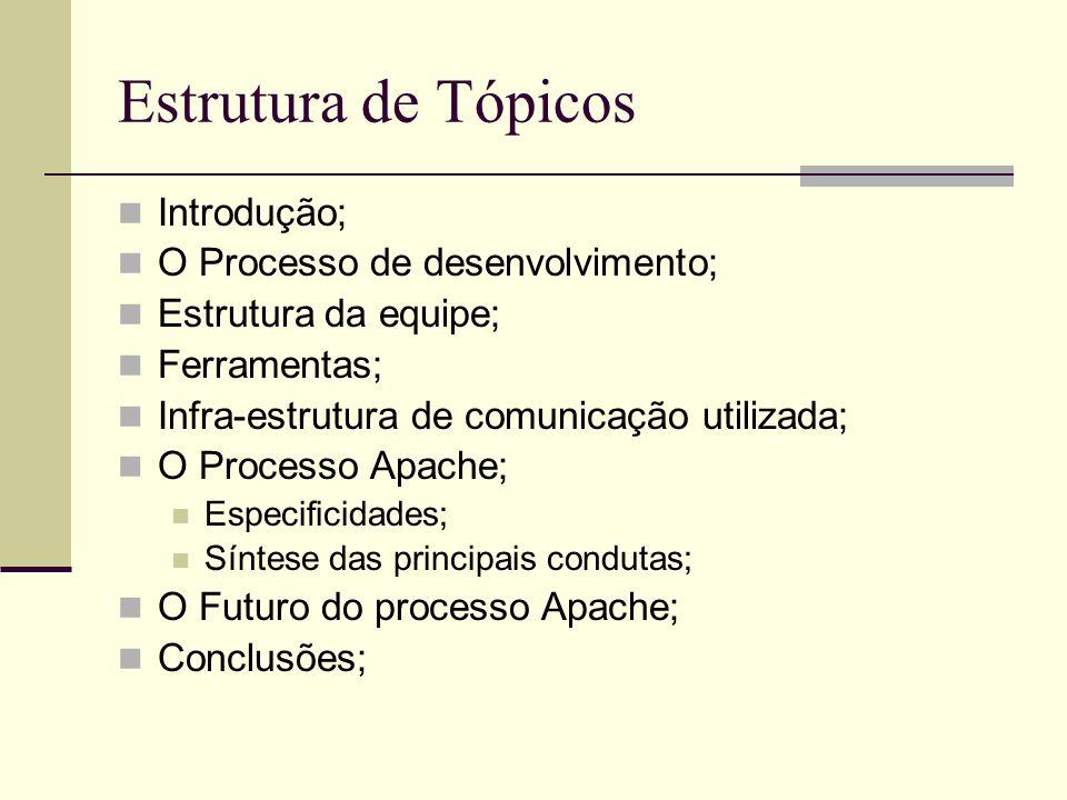 Estrutura de Tópicos Introdução; O Processo de desenvolvimento;