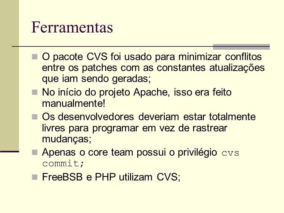Ferramentas O pacote CVS foi usado para minimizar conflitos entre os patches com as constantes atualizações que iam sendo geradas;