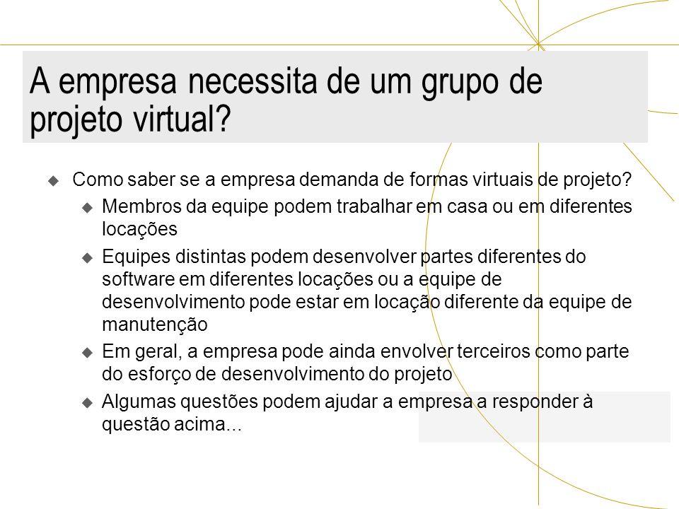 A empresa necessita de um grupo de projeto virtual