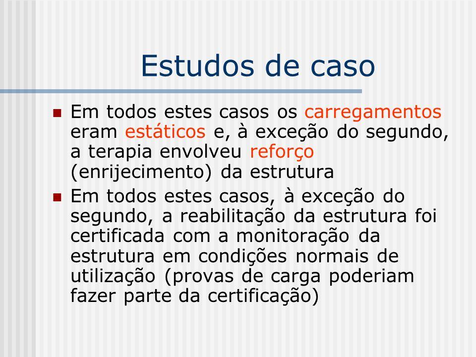 Estudos de caso Em todos estes casos os carregamentos eram estáticos e, à exceção do segundo, a terapia envolveu reforço (enrijecimento) da estrutura.