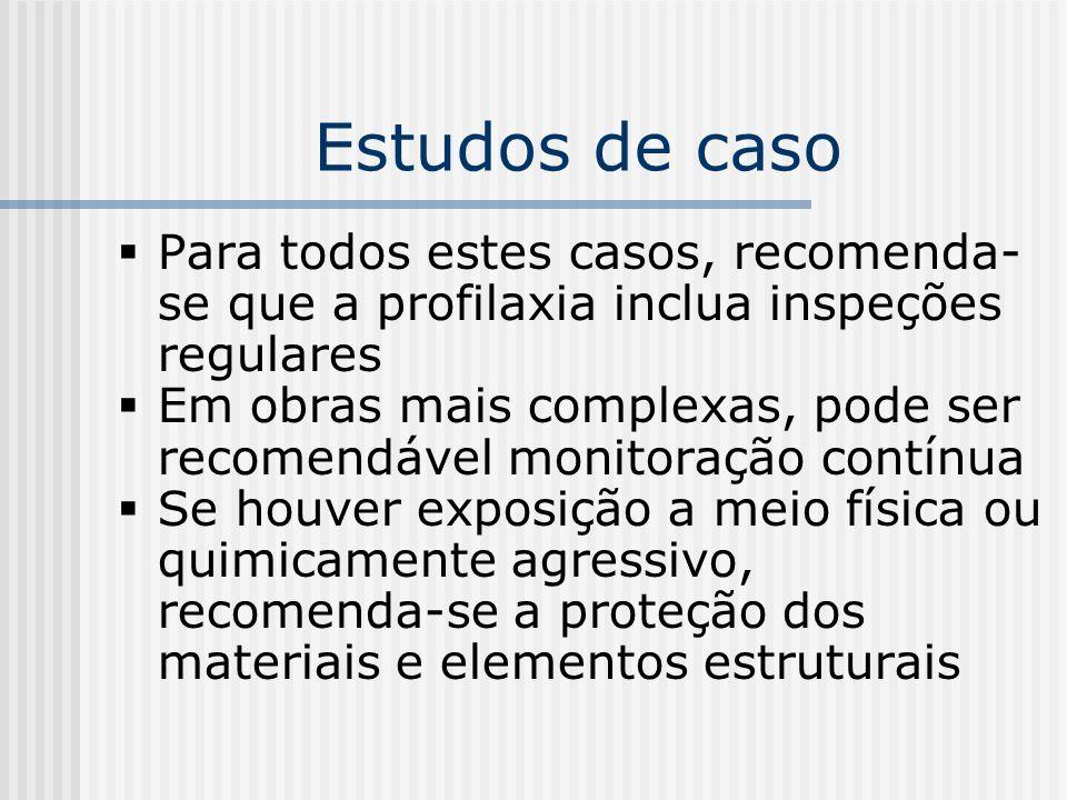 Estudos de caso Para todos estes casos, recomenda-se que a profilaxia inclua inspeções regulares.