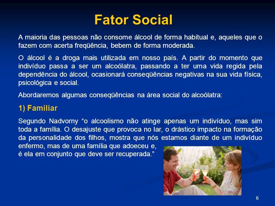 Fator Social A maioria das pessoas não consome álcool de forma habitual e, aqueles que o fazem com acerta freqüência, bebem de forma moderada.