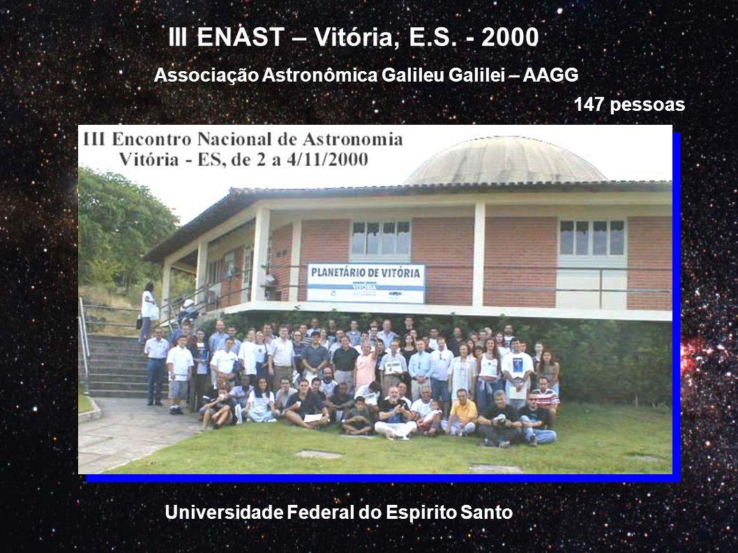 III ENAST – Vitória, E.S. - 2000 Associação Astronômica Galileu Galilei – AAGG.