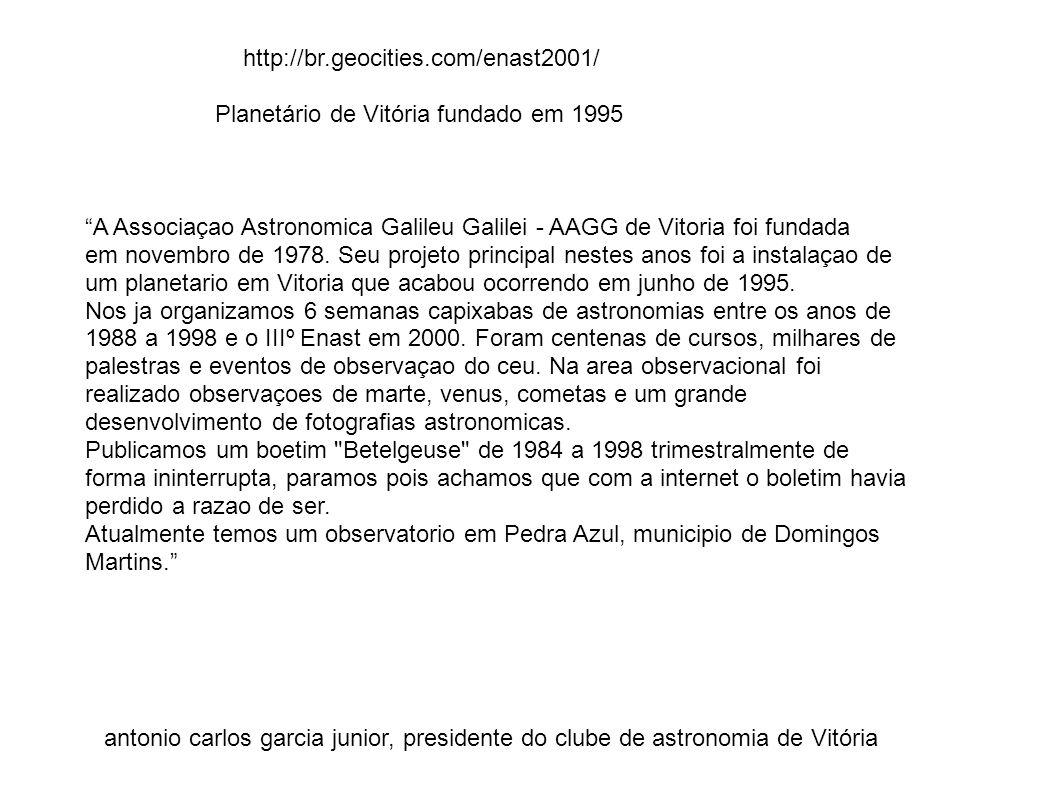 http://br.geocities.com/enast2001/ Planetário de Vitória fundado em 1995. A Associaçao Astronomica Galileu Galilei - AAGG de Vitoria foi fundada.