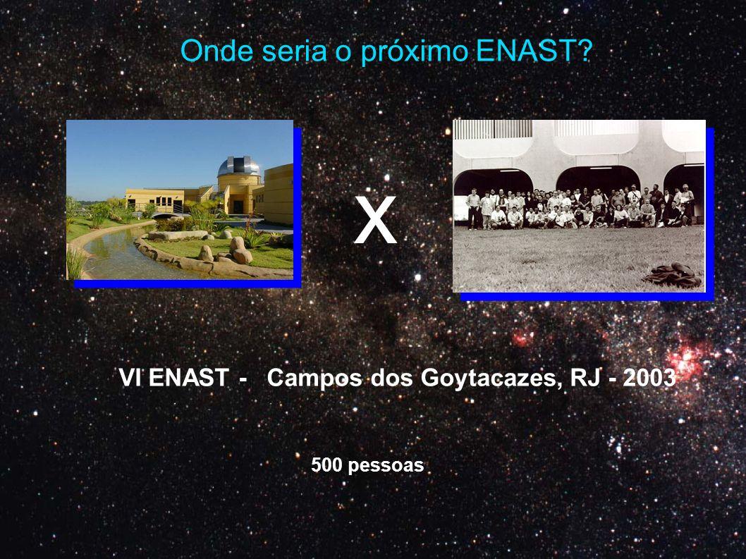 x Onde seria o próximo ENAST