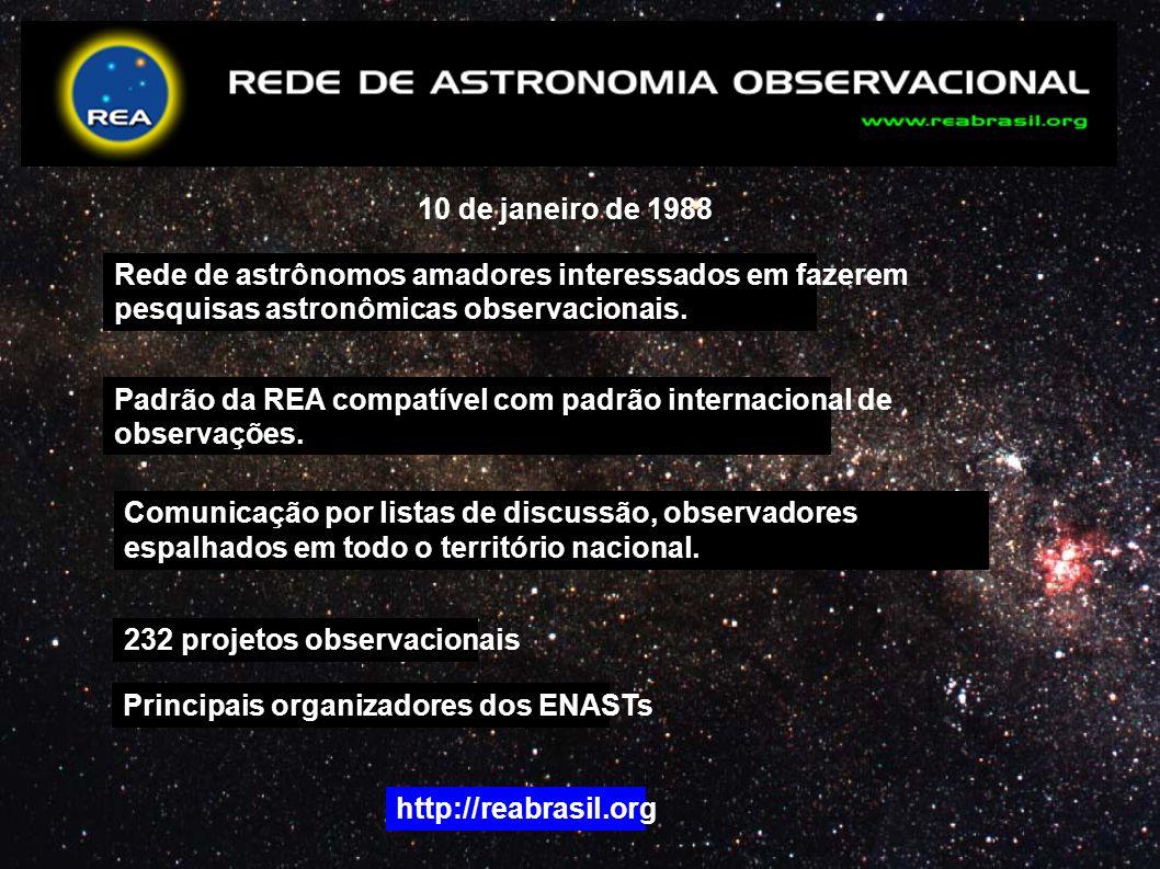 10 de janeiro de 1988 Rede de astrônomos amadores interessados em fazerem. pesquisas astronômicas observacionais.