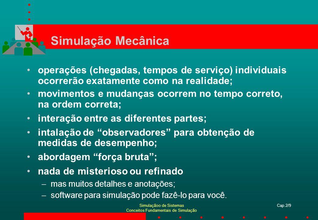 Simulação Mecânica operações (chegadas, tempos de serviço) individuais ocorrerão exatamente como na realidade;
